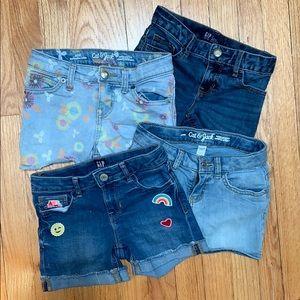 4 qty girls jean shorts